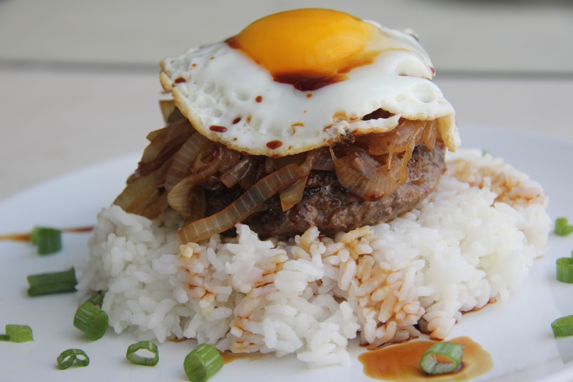 Loco Moco is traditionally made with white rice topped with a ...